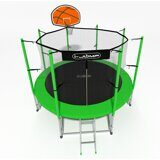 Батут i-JUMP Basket 8ft 2,44м с нижней сетью и лестницей (green)