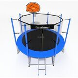 Батут i-JUMP Basket 8ft 2,44м с нижней сетью и лестницей (blue)